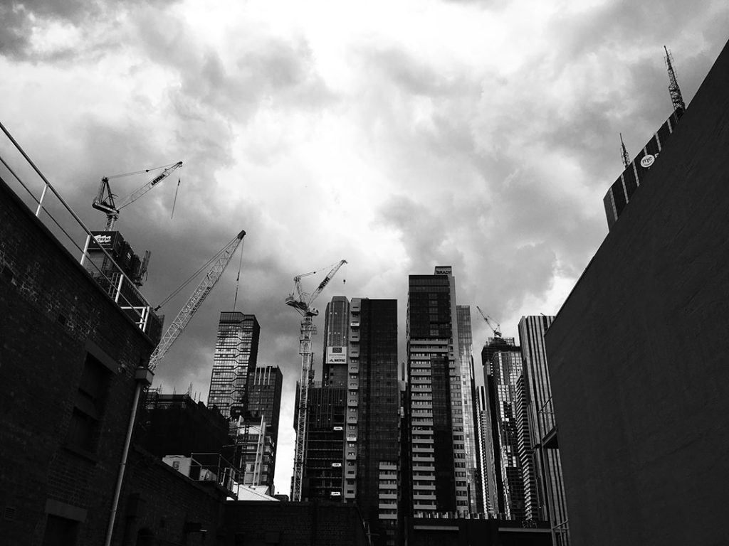 City under siege. Cranes in Lonsdale St